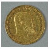 1893 GERMAN STATES WURTTEMBERG 10 MARK GOLD COIN