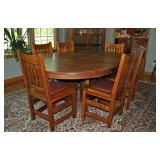 (9) PIECE LIMBERT ARTS & CRAFTS OAK DINING SUITE