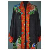 VINTAGE BLACK & ORANGE SILK ROBE