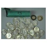 UNCIRCULATED ROLL OF 50 1964 ROOSEVELT DIMES