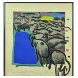 MENASHE KADISHMAN MIXED MEDIA SERIGRAPH - SHEEP