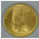 1910-D US GOLD INDIAN EAGLE $10 COIN