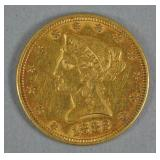 1882 US GOLD CORONET HEAD EAGLE $10 COIN
