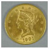 1901 US GOLD CORONET HEAD EAGLE $10 COIN