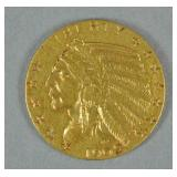 1909 US GOLD INDIAN HEAD HALF EAGLE $5 COIN