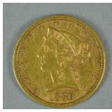 1880 US GOLD CORONET HEAD HALF EAGLE $5 COIN