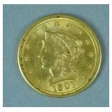 1907 US GOLD CORONET HEAD QUARTER EAGLE $2.50 COIN