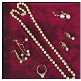 (5) PIECE 14K CULTURED PEARL JEWELRY GROUP