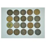 (20) US LARGE CENT COPPER COINS