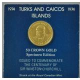 1974 GOLD TURKS & CAICOS 50 CROWN COIN
