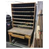 Post Office Sorting Station w/ Drawer on Wheels