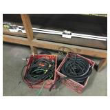 2 Baskets of Wire & White Electrical Poles