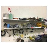 Contents of 3 Shelves; Hole Saws, Drills, Brass