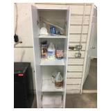 White 2 Door Cabinet & Contents - 18 x 15 x 72