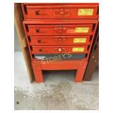 Kent, Etc. 4 Drawer Parts Cabinet & Contents