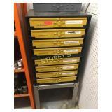 8 Drawer Kar Parts Cabinet w/ Stand & Brass