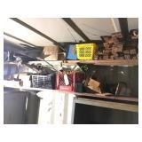 Contents of 2 Shelves Tarp, Hardware, Fans, Etc.