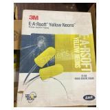 Box of 3M E-A-R Soft Yellow Neon Ear Plugs