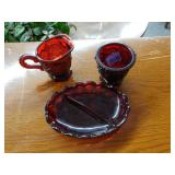 3-Piece Red Glass Set