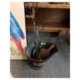 5-Piece Fire Place Tools and USA Galvanized Bucket