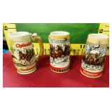 392 - 3 VINTAGE BUD STEINS HOILDAY CLYDESDALES