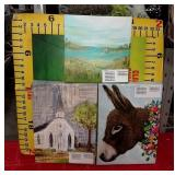 43 - WMC NEW LOT OF 4 WHIMSICAL CANVASES