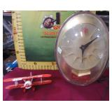 392 - COLLECTIBLE BUD PLANE & VINTAGE CLOCK