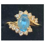 H103 14KT YELLOW GOLD BLUE TOPAZ AND DIAMOND