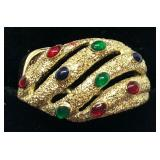 H106 14KT YELLOW GOLD LAZER CUT MULTI COLOR