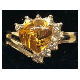 H110 14KT YELLOW GOLD CITRINE AND DIAMOND RING