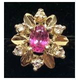 H111 14KT YELLOW GOLD TOURMALINE AND DIAMOND