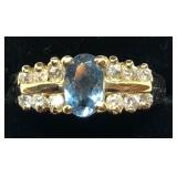 H115 14KT YELLOW GOLD BLUE TOPAZ AND DIAMOND RING