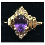 H116 14KT YELLOW GOLD AMETHYST AND DIAMOND RING