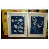 43 - WMC NEW PAIR BLUE & WHITE WALL ART