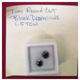 408 - GEMSTONES!  2 ROUND BLACK DIAMONDS 1.5 TCW