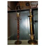 11 - PAIR OF WOOD METAL LAMP BASES