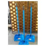 11 - LOT OF THREE NEW BLUE DUST PANS WITH HANDLE