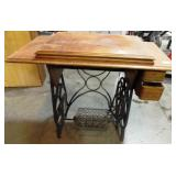 11 - ANTIQUE SEWING MACHINE CABINET ONLY