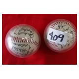 409 - LOT OF TWO SIGNED BASEBALLS