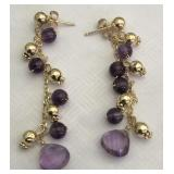 14KT YELLOW GOLD AMETHYST AND GOLD BEADS EARRINGS