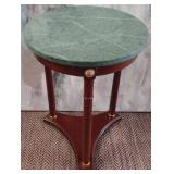11 - ROUND WOOD & MARBLE ACCENT TABLE
