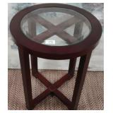 11 - ROUND WOOD & GLASS ACCENT TABLE