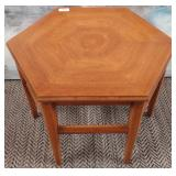 11 - WOOD HEXAGON ACCENT TABLE