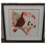 """11 - FRAMED TROPICAL BIRD ART 28""""X27"""""""