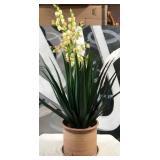 57 - BEAUTIFUL CERAMIC PLANTER W/NEVERDIE FLOWERS