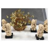 60 - LOT OF 5 ASIAN ELDER STATUE & GOLD MONEY TREE