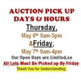 AUCTION PICK UP DAYS & HOURS