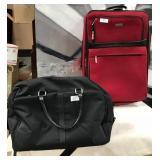 188 - DUFFLE BAG & RED CLAIBORNE SUITCASE
