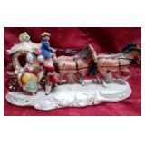 11 - PORCELAIN HORSE DRAWN CARRIAGE FIGURINE