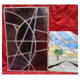 11 - 2 STAINED GLASS HANGINGS AS IS